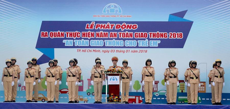 """TP.HCM : Ra quân thực hiện năm an toàn giao thông với chủ đề """"An toàn giao thông cho trẻ em"""""""
