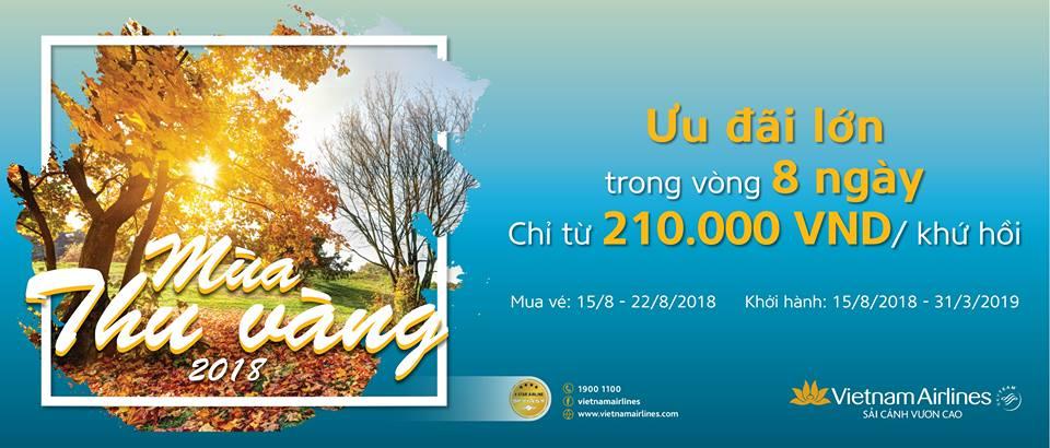 """Vietnam Airlines mở bán vé giả rẻ từ 299.000 đồng trong chương trình """"Mùa thu vàng 2018"""""""