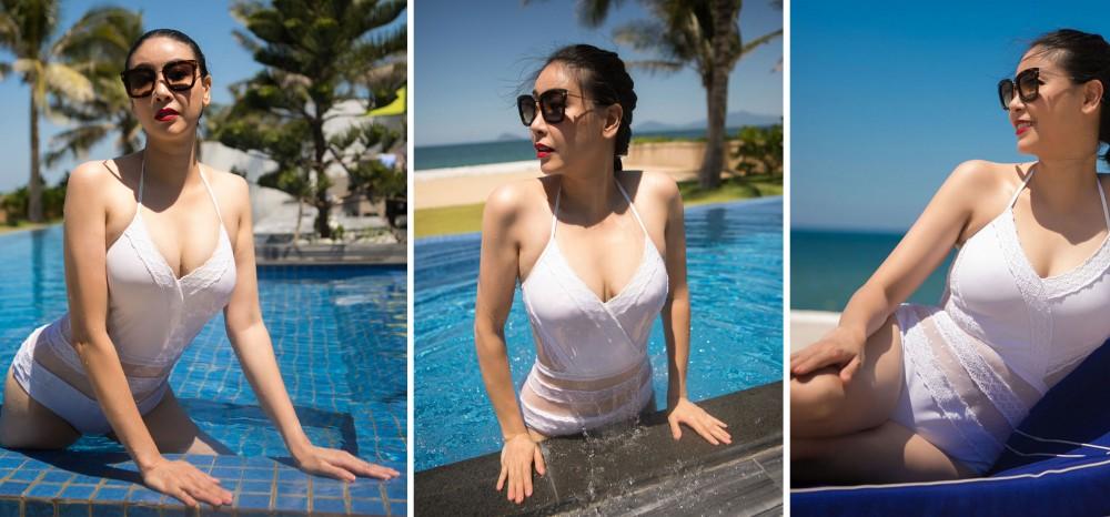 Hoa hậu Hà Kiều Anh khoe thân hình khoẻ khoắn với áo tắm một mảnh
