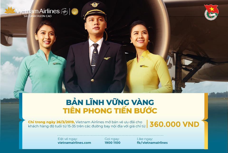 Vietnam Airlinesmở bán vé ưu đãi đặc biệt dành cho các đoàn viên, thanh niên với giá từ 360.000 đồng