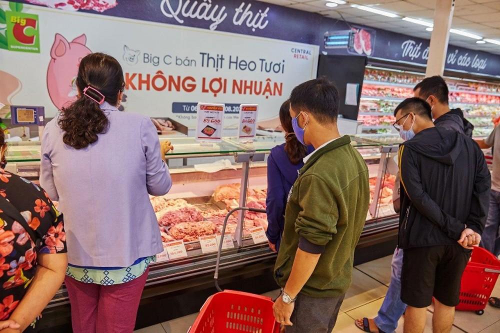 Hệ thống siêu thị Big C và GO! bán thịt heo tươi sống không lợi nhuận