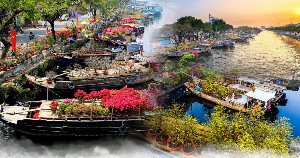 """Chợ hoa Xuân """"Trên bến dưới thuyền"""" mừng Tết Tân Sửu 2021 tại TP.HCM"""